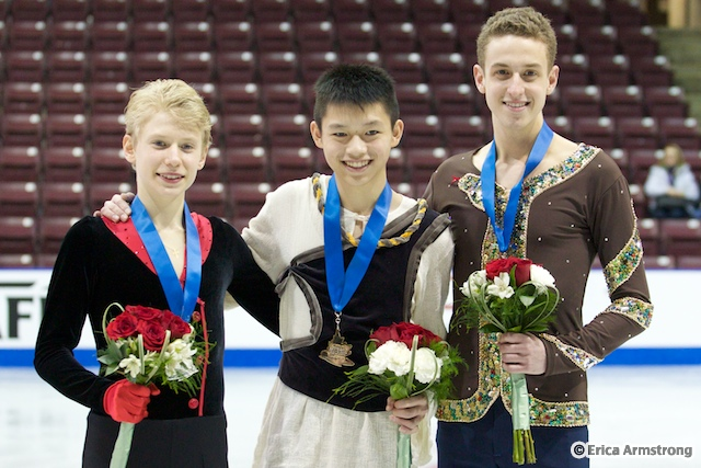 In Junior Men, Anthony Kan (centre), 17, Richmond Hill, won gold and Denis Margalik (left), 15, Mississauga, won silver.