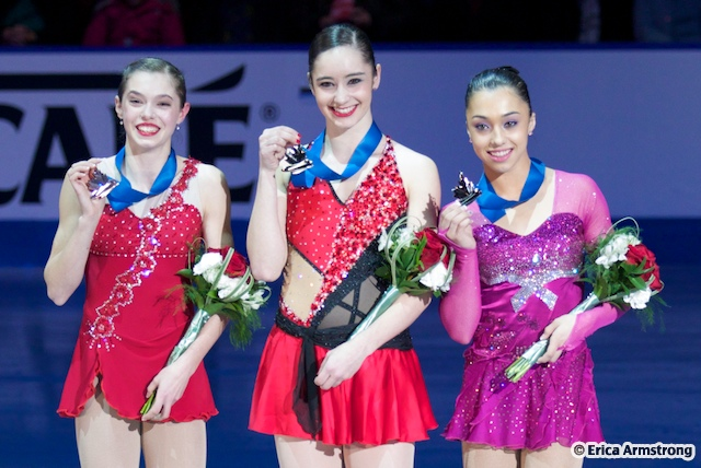 Gabrielle Daleman (right), 15, Newmarket, won silver and Alaine Chartrand (left), 16, Prescott, won bronze.