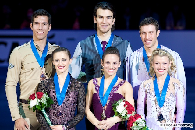 Meagan Duhamel, 27, Lively & Eric Radford, 27, Balmertown won gold and Kirsten Moore-Towers, 20, St. Catharines & Dylan Moscovitch, 28, Waterloo, won silver.