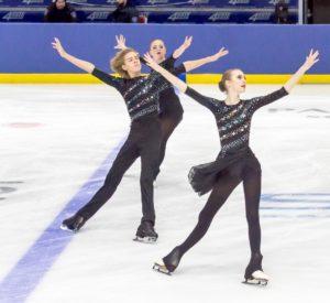Synchro skaters Liam Carr, Robbie-Lynn Puspoky and Tara Brandie